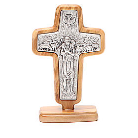 Croce da tavolo metallo Papa Francesco legno ulivo 13x8,5 cm s3