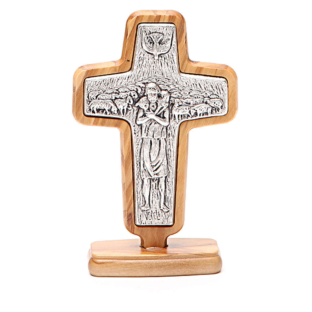 Altar crucifix in metal With Pope Francis, olive wood 13x8.5cm 4