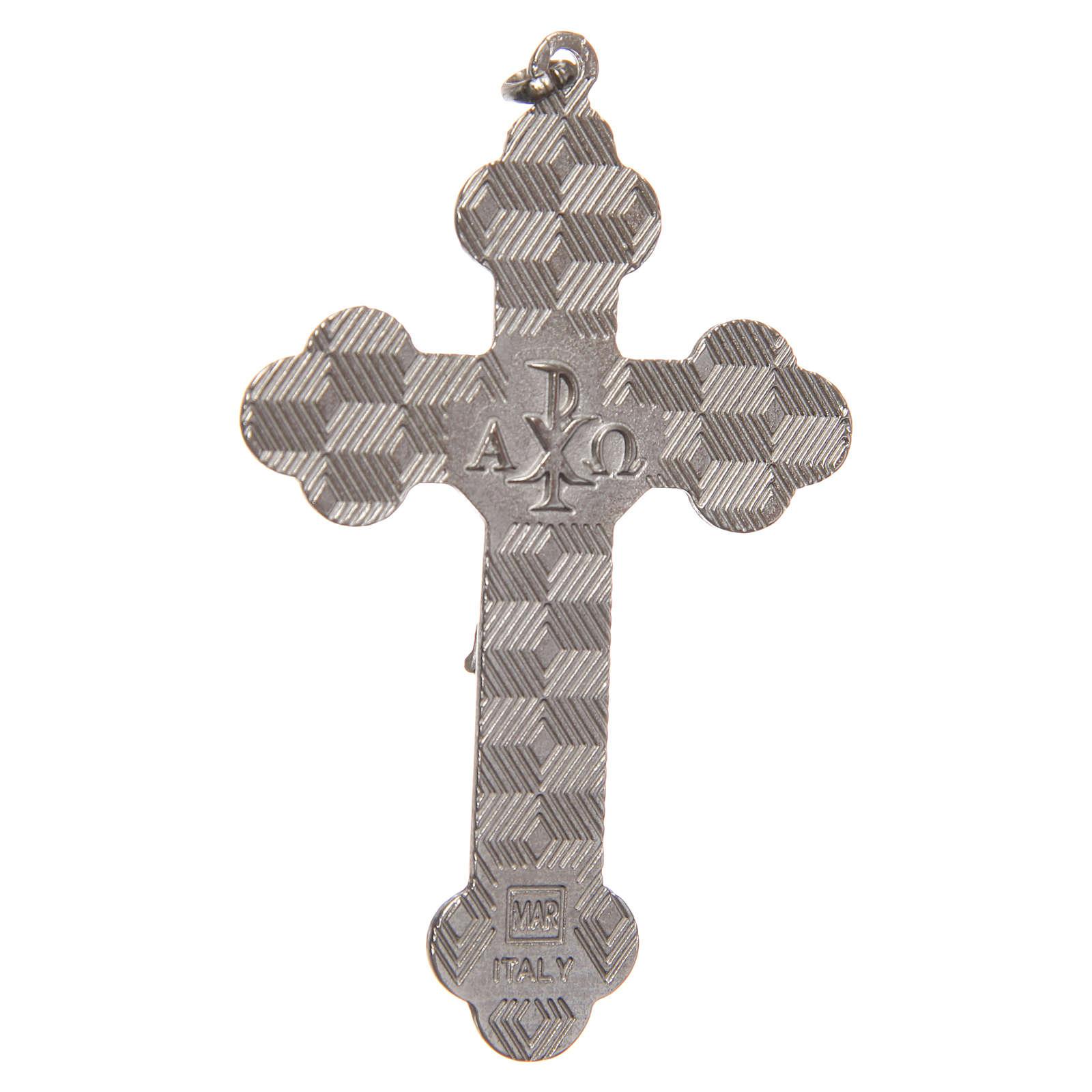 STOCK Croce metallo nichelato smalto nero e Cristo cm 8,5 4