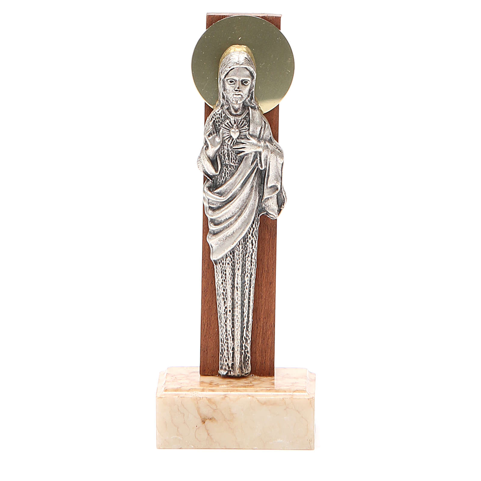 STOCK Statua Sacro Cuore Gesù metallo base marmo cm 13 4