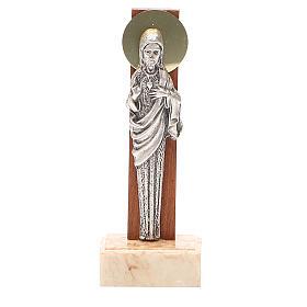 STOCK Statua Sacro Cuore Gesù metallo base marmo cm 13 s1