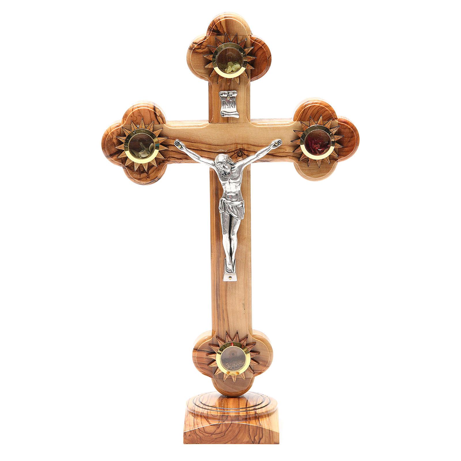 Crucifix trilobé sur base olivier Terre Sainte terre grains 31 cm 4