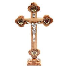 Crucifix trilobé sur base olivier Terre Sainte terre grains 31 cm s1