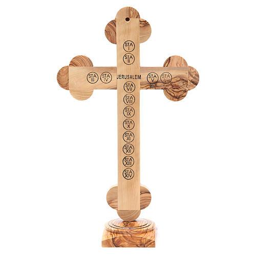 Crucifix trilobé sur base olivier Terre Sainte terre grains 31 cm 3