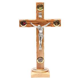 Crucifix avec base olivier Terre Sainte terre et grains 28 cm s1