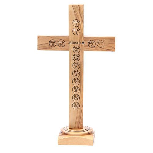 Crucifix avec base olivier Terre Sainte terre et grains 28 cm 3