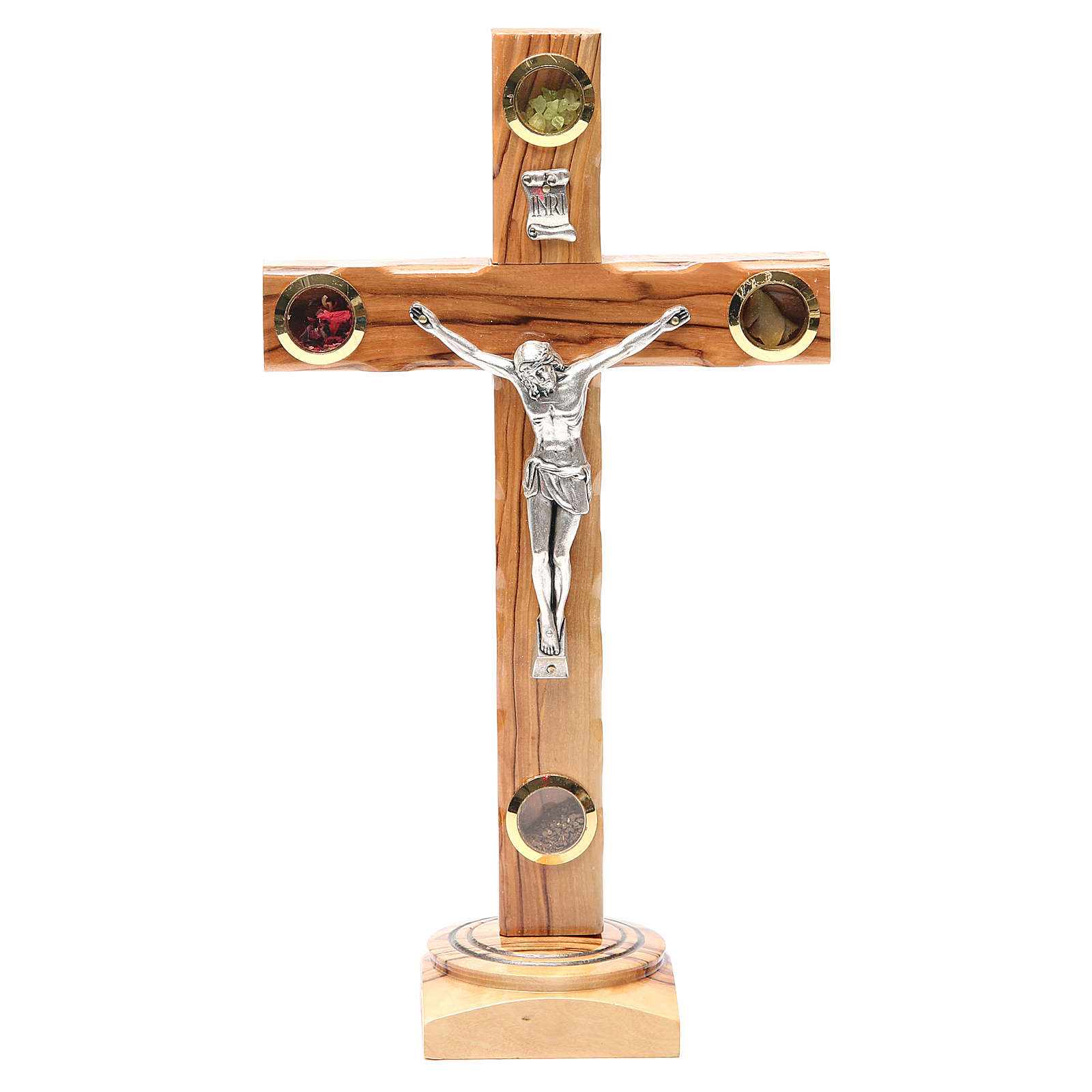 Table Crucifix olive wood Holy Land earth & seeds 28cm 4
