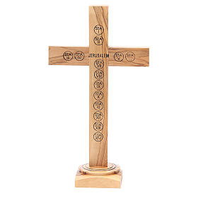 Table Crucifix olive wood Holy Land earth & seeds 28cm s3