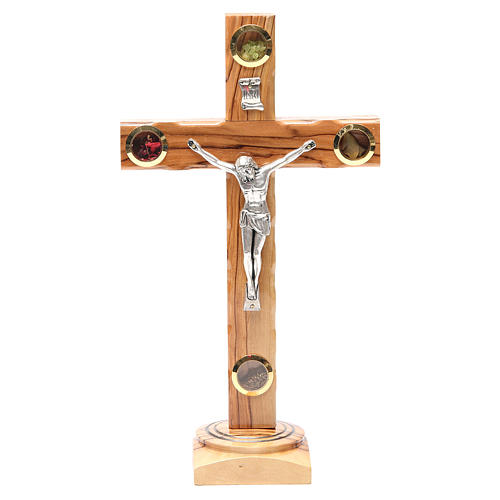 Table Crucifix olive wood Holy Land earth & seeds 28cm 1