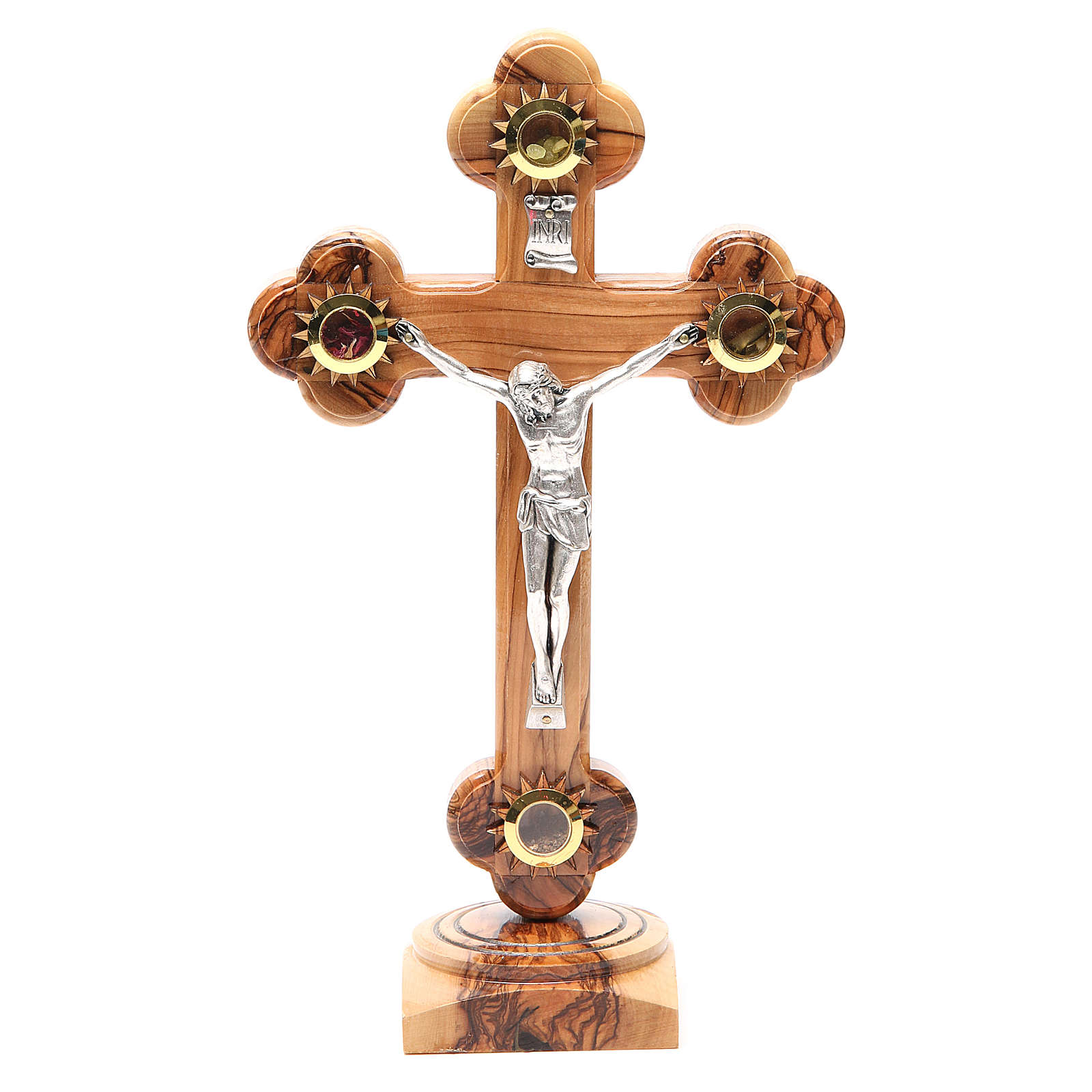 Trefoil Cross with base olive wood Holy Land earth seeds 26cm 4