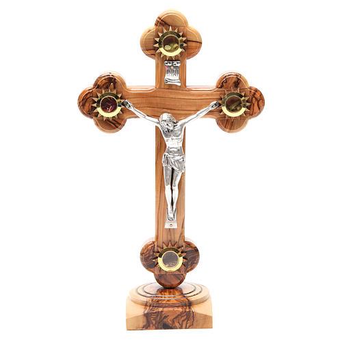 Trefoil Cross with base olive wood Holy Land earth seeds 26cm 1