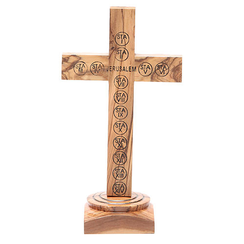 Table Crucifix olive wood Holy Land earth & seeds 19cm 3