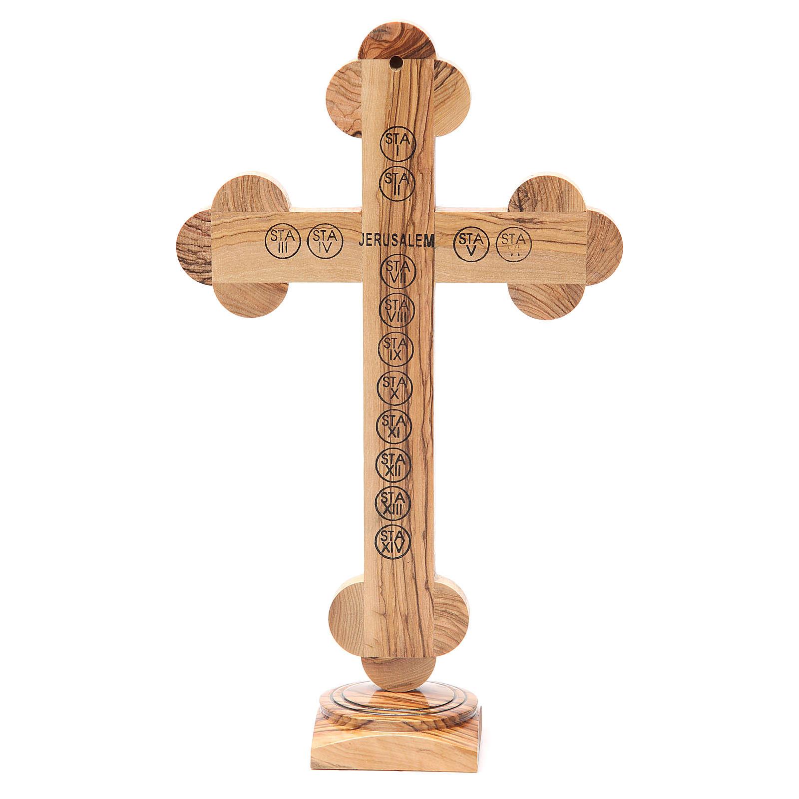 Crucifix trilobé à poser olivier Terre Sainte terre et graines 31 cm 4