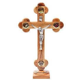 Crucifix trilobé à poser olivier Terre Sainte terre et graines 31 cm s1