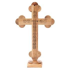 Crucifix trilobé à poser olivier Terre Sainte terre et graines 31 cm s3