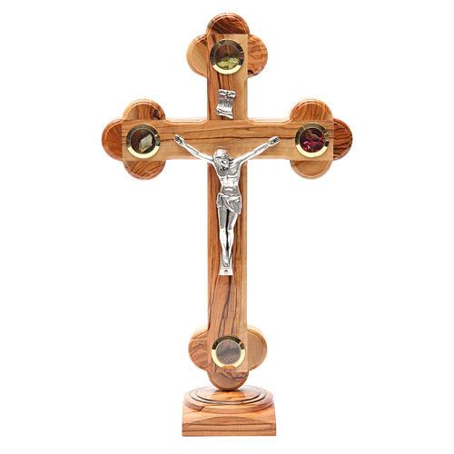 Crucifix trilobé à poser olivier Terre Sainte terre et graines 31 cm 1