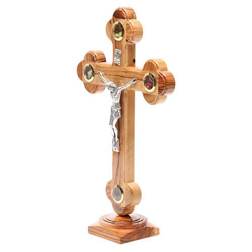 Crucifix trilobé à poser olivier Terre Sainte terre et graines 31 cm 2