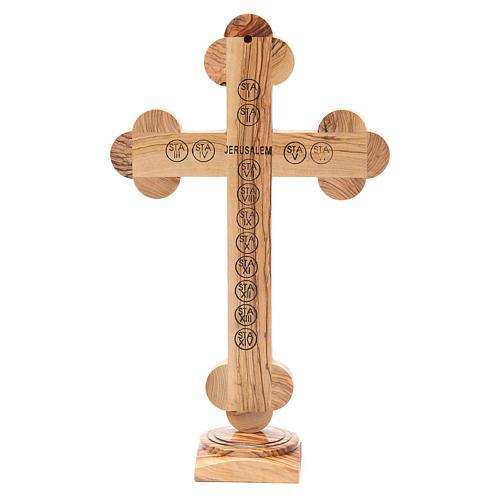 Crucifix trilobé à poser olivier Terre Sainte terre et graines 31 cm 3