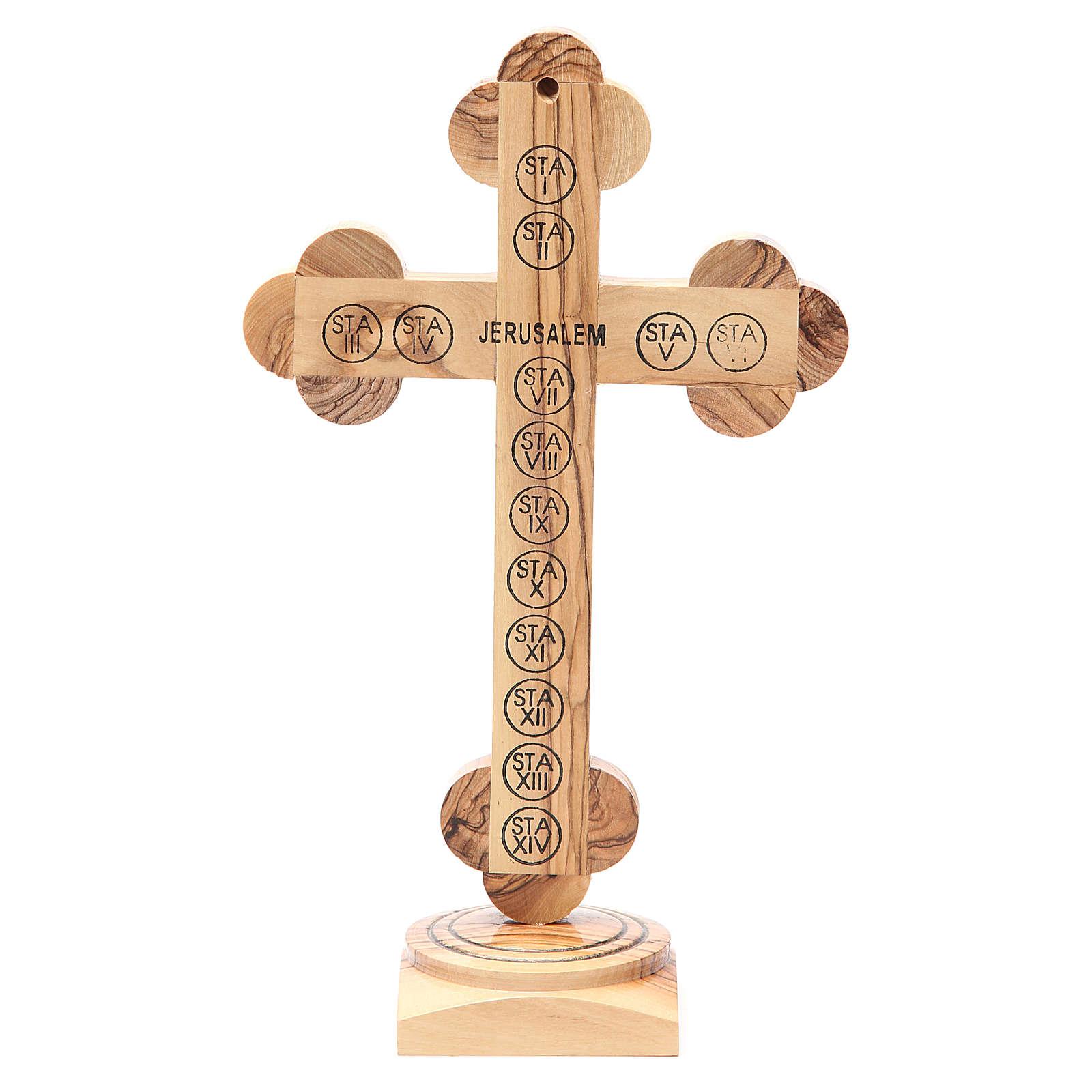 Crucifix trilobé à poser bois olivier Palestine 26 cm 4
