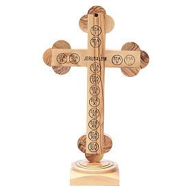 Crucifix trilobé à poser bois olivier Palestine 26 cm s3