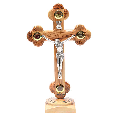 Crucifix trilobé à poser bois olivier Palestine 26 cm 1