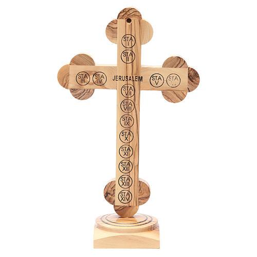 Crucifix trilobé à poser bois olivier Palestine 26 cm 3