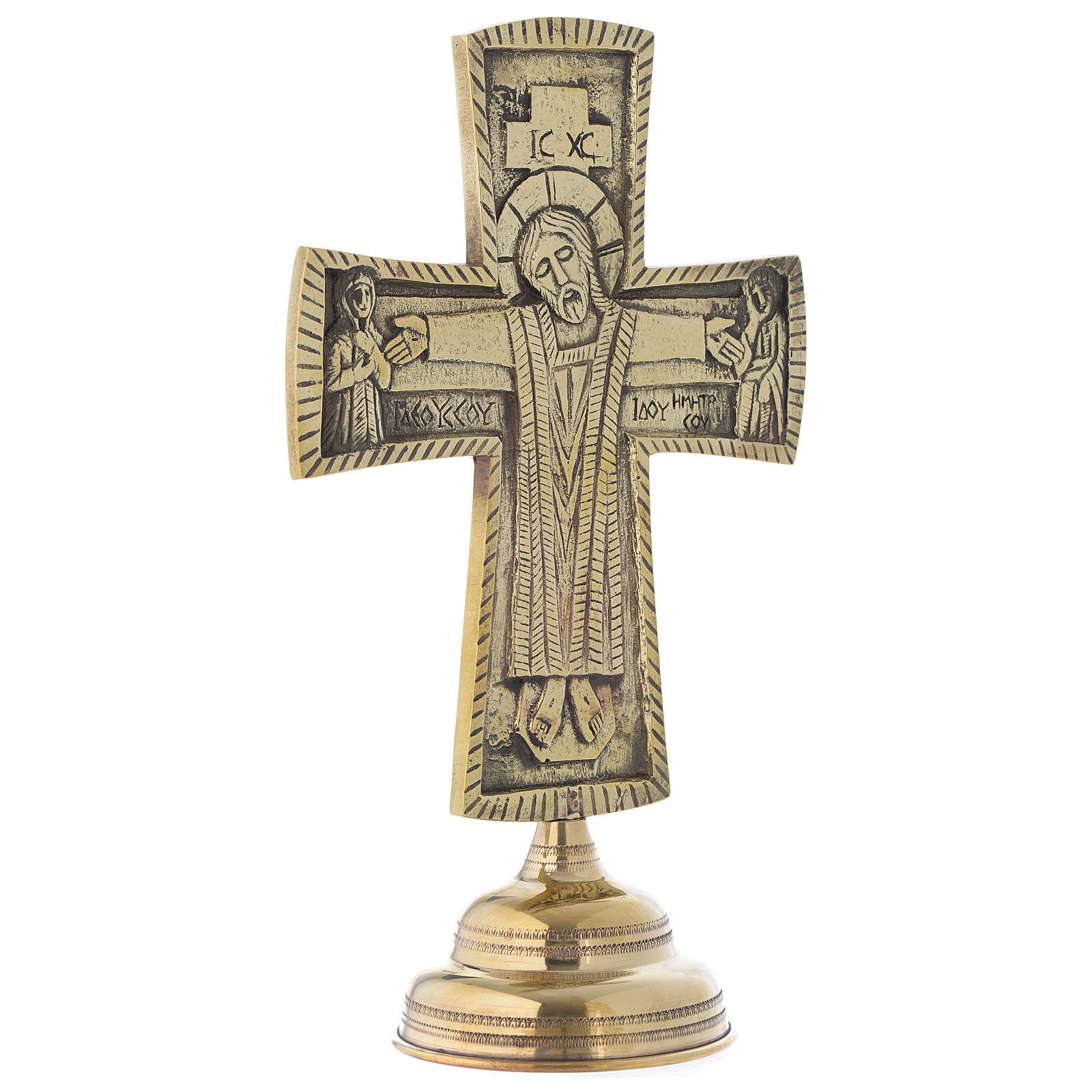 Crocefisso da altare Monaci di Betlemme Jesus Grand Prêtre ottone 30x20 4