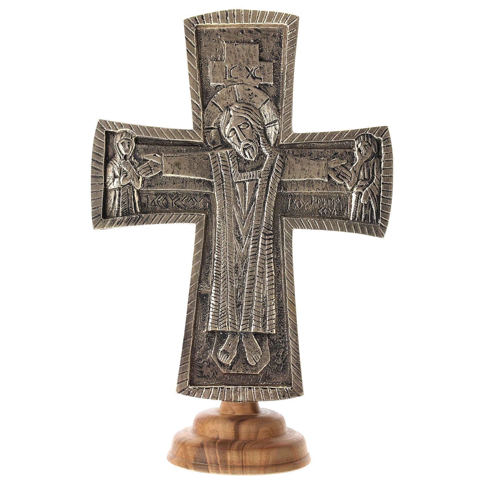 Crocefisso da altare Monaci di Betlemme Jésus Grand Prêtre ottone 30x20 4