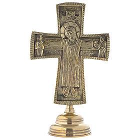 Crocefisso da altare Monaci di Betlemme Jesus Grand Prêtre ottone 30x20 s1