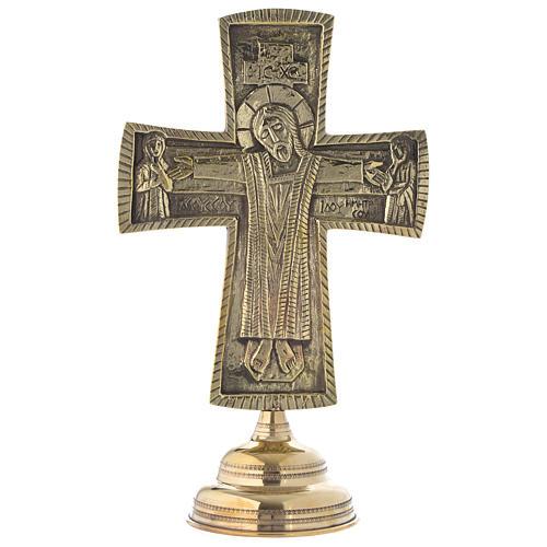 Crocefisso da altare Monaci di Betlemme Jesus Grand Prêtre ottone 30x20 1
