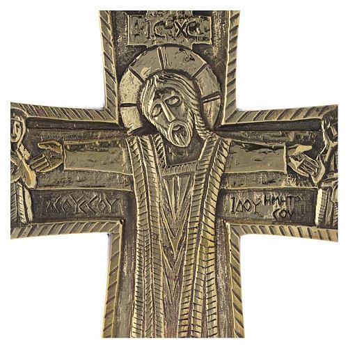 Crocefisso da altare Monaci di Betlemme Jesus Grand Prêtre ottone 30x20 2