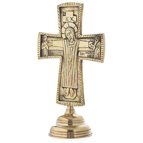Crocefisso da altare Monaci di Betlemme Jesus Grand Prêtre ottone 30x20 3