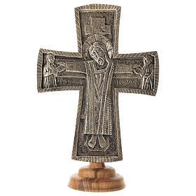 Krucyfiks ołtarzowy Mnisi Betlejemici Jesus Grand Prêtre mosiądz 30x20 s1