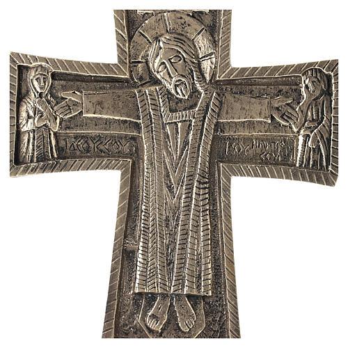 Krucyfiks ołtarzowy Mnisi Betlejemici Jesus Grand Prêtre mosiądz 30x20 2