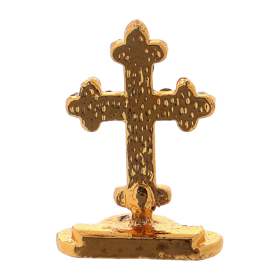Table cross in gilded brass covered with white synthetic stones 3.5 cm 4