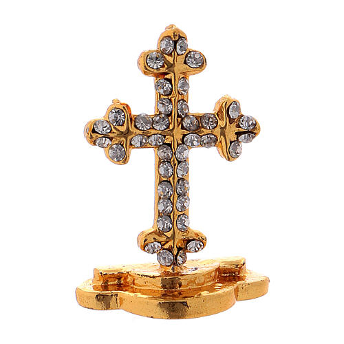 Table cross in gilded brass covered with white synthetic stones 3.5 cm 1