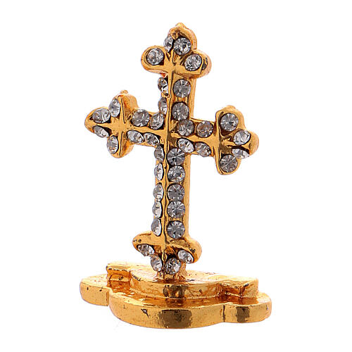 Table cross in gilded brass covered with white synthetic stones 3.5 cm 2