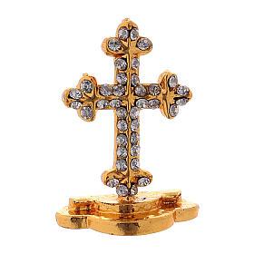 Crucifijo de mesa con brillantes de latón h. 3,5 cm s1