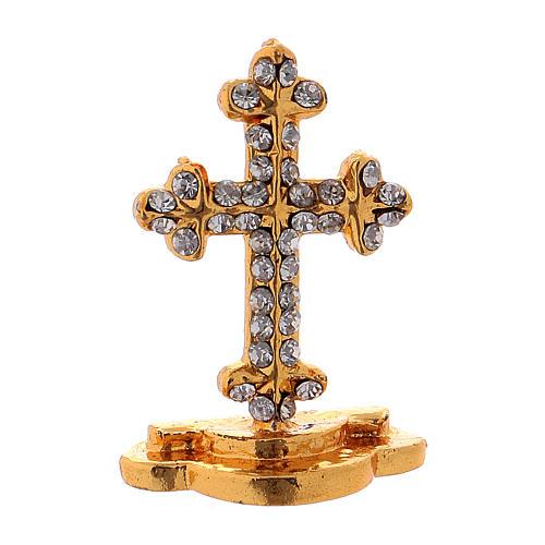 Crucifijo de mesa con brillantes de latón h. 3,5 cm 1
