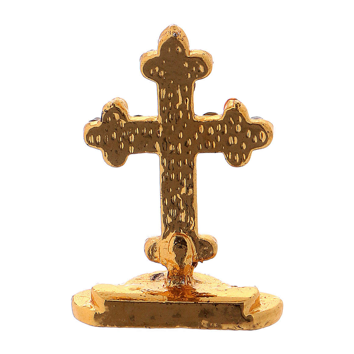 Crucifix de table avec strass en laiton h 3,5 cm 4