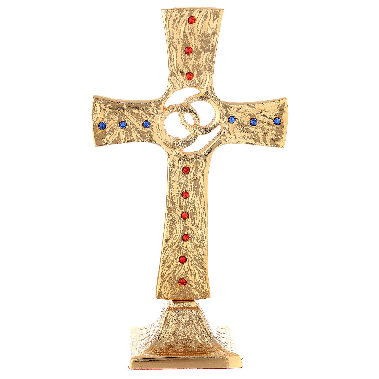 Cruz boda alianzas cruzadas latón dorado cristales 4