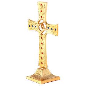 Cruz boda alianzas cruzadas latón dorado cristales s3