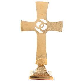Cruz boda alianzas cruzadas latón dorado cristales s4
