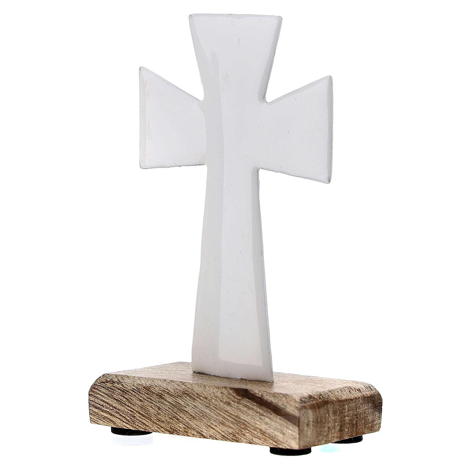 Croce da tavolo ferro smaltato bianco base legno 10 cm 4