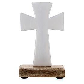 Croce da tavolo ferro smaltato bianco base legno 10 cm s3