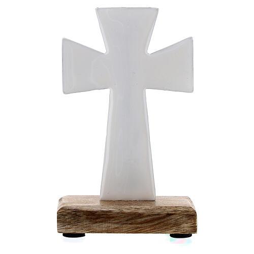 Croce da tavolo ferro smaltato bianco base legno 10 cm 3