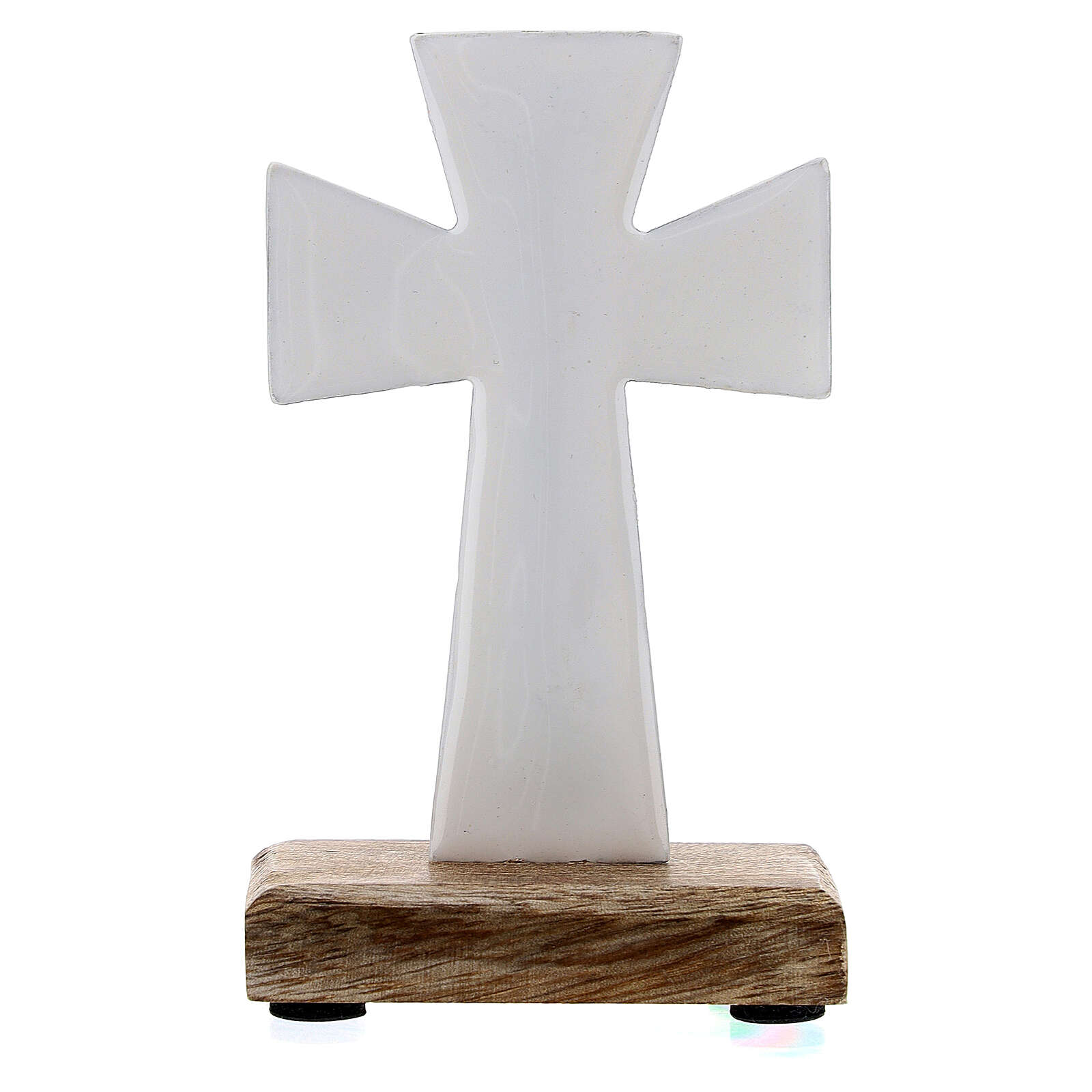 Table cross in white enamelled iron and wood base 4 in 4