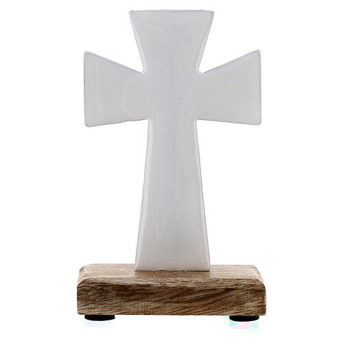 Table cross in white enamelled iron and wood base 4 in 3
