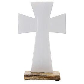 Croce smalto bianco ferro legno da tavolo 20 cm s1