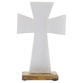 Croce smalto bianco ferro legno da tavolo 20 cm s3